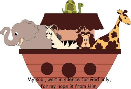 Noah - in this cute country clipart - reminds the Sandwich Generation how important it is to wait on the Lord