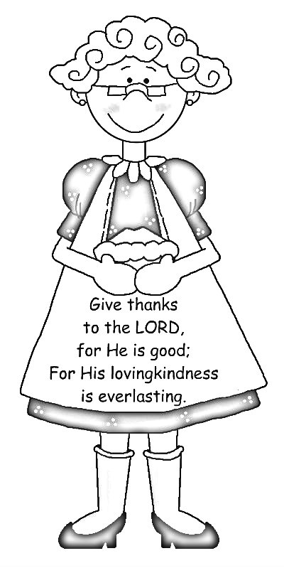 Cute country grandparents clipart coloring page for Thanksgiving