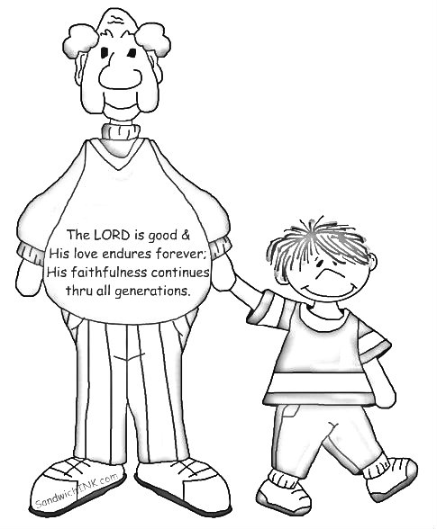 The Lord is good - faithfulness continues through all generations including the Sandwich Generation - coloring page
