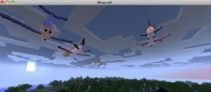 Cool Minecraft airplanes and lovely pink sunset - a delight for the grandkids and the Sandwich Generation granny nanny