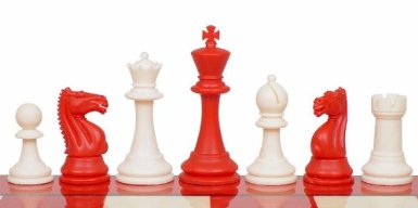 This red and white chess set is delightful for grandsons