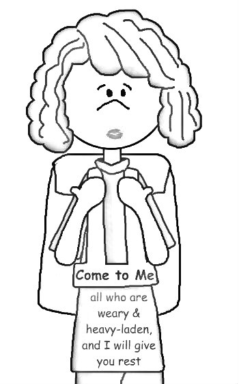 The Sandwich Generation issues are definitely heavy burdens - Praising God He will take them over if we let Him - coloring page