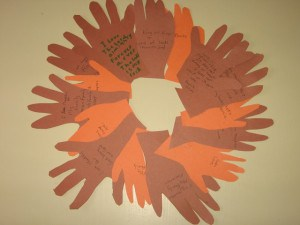 A Thanksgiving wreath from the grandkids with love Bible verses and sweet family memories