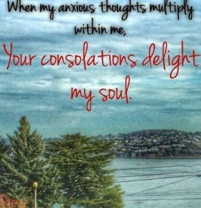 Comforting BIble verses against the beautiful Puget Sound in Tacoma Washington near Ruston