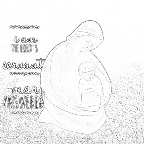Mary and Baby-Christian Scripture coloring page via Kaye Swain Roseville CA