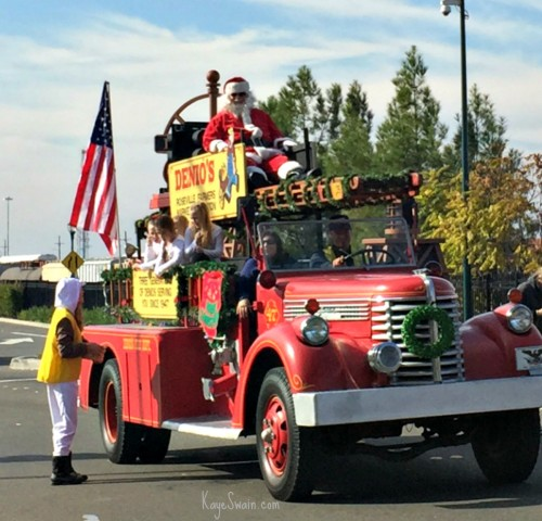 Roseville CA 2015 Christmas Parade via Kaye Swain Real Estate agent Santa on Denios vintage firetruck and lots of cute company