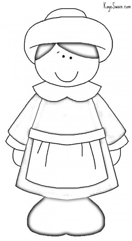 Thanksgiving Pilgrim Girl from Kaye Swain Roseville CA with Christian coloring pages for grandkids thru adults