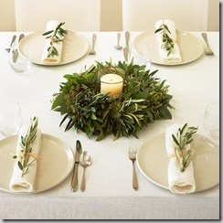 Lindsay Olive Branch Christmas Wreath as centerpiece