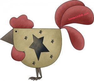 Prim Country Rooster clipart is great for the prim decor