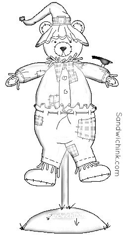 beary cute fall scarecrow coloring pages 2 wm