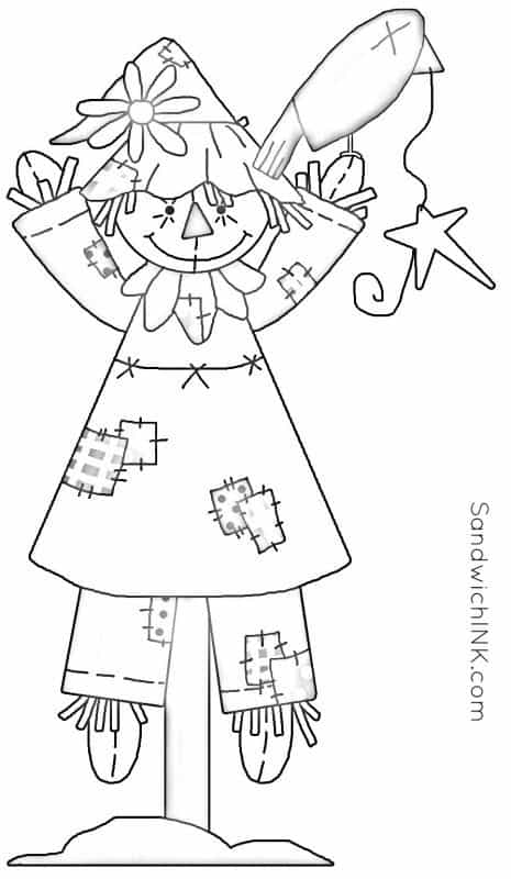 love fall scarecrow coloring pages wm