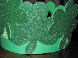 Another grandkid preferred having the glittery St Patricks Day foam stickers standing straight up