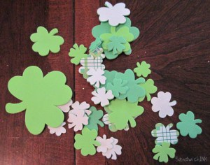 Lots of St Patricks Day foam stickers for their hats