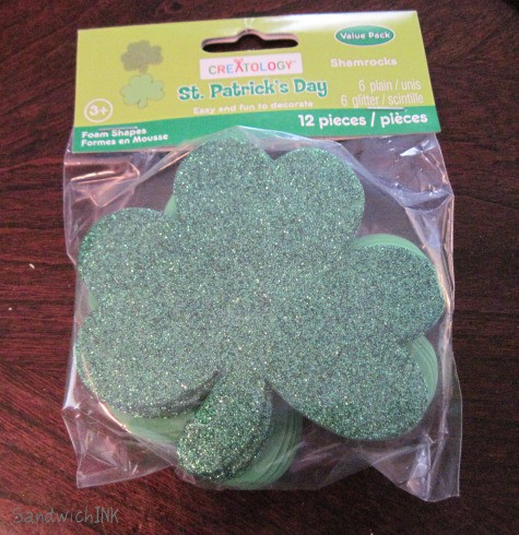 My grandkids loved these St Patricks Day foam stickers with glitter