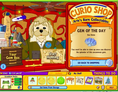 Click on start hunting to enter one of the mines and find a jewel to help earn Webkinz money