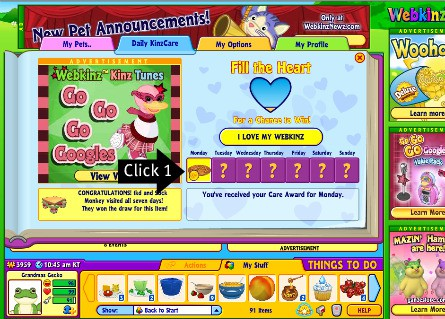 Click one of these for free food and sometimes Webkinz money for your virtual stuffed animals