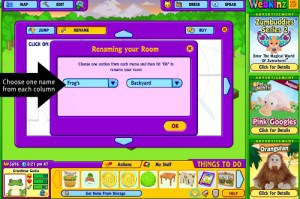 Choose a name for your Webkinz Stuffed Animals new garden room
