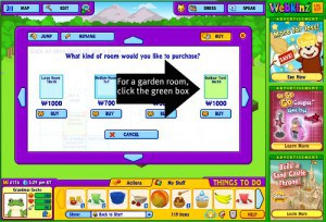 Click the green box for an outdoor yard that lets you plant a garden to grow food for your Webkinz Stuffed virtual Animals - and for your grandkids