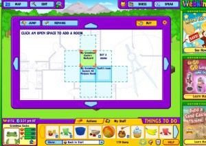 Click to put your new room whereever you want on the Webkinz map