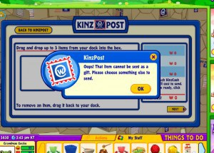 If I make a mistake when sending a gift to a grandchild and his webkinz spotted frog stuffed animals I will get this message