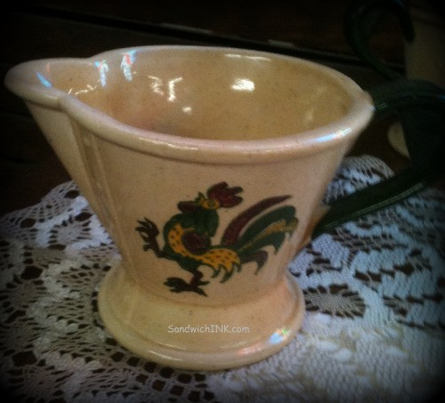 Rooster dinnerware like this gravy pitcher are both practical and delightful collectibles