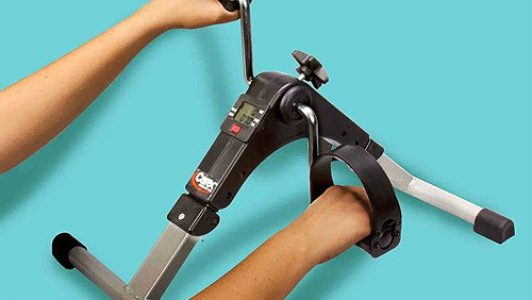 You can even exercise your arms with this Carex Mini Exercise Pedal Bike