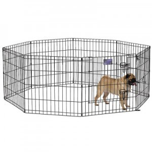 Dog exercise pens - such as this dog exercise pen with door - are especially useful when we are caring for elderly parents who are not steady on their feet as well as in bad weather climates