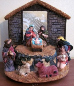 My grandchild and I had fun finding this musical Nativity set at a thrift store for a great price