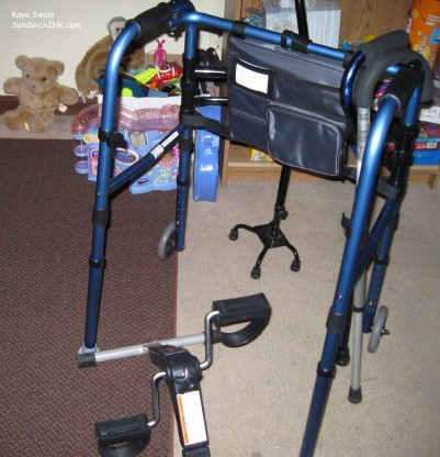 The tools of tfolding walkers for the elderly parents in our Sandwich Generation familieshe trade for the Sandwich Generation - great-grandmas walker canes and mini exercise bike with the grandkids stuffed animals games and puzzles