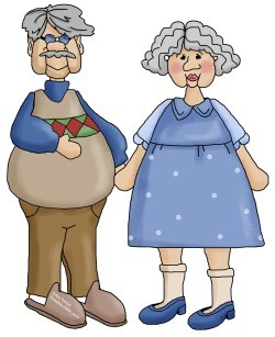 I love this baby boomer Sandwich Generation grandma and grandpa clipart