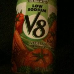I use V8 with low sodium to keep this granny nanny going in between meals on the Flat Belly-MUFA foods-diet