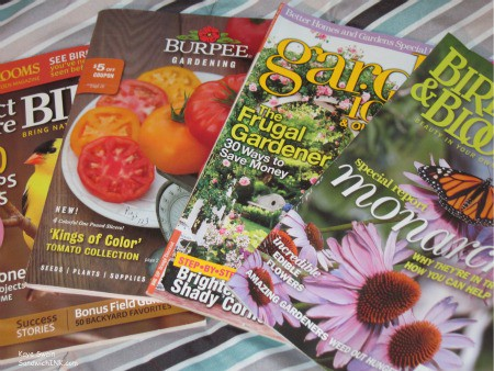 My senior mom and is enjoying reading a wide variety of gardening magazines from Birds and Blooms to Burpee catalogs and a vegetable gardening book as well
