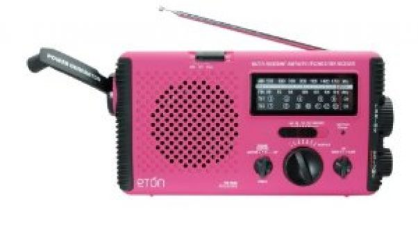A pink emergency radio for the Sandwich Generation dealing with the issues of caring for the elderly parents and babysitting the grandchildren
