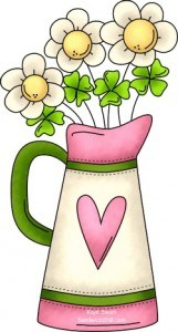 Pretty spring flowers and St Patricks Day shamrock clip art to say Happy PINK Saturday to the Sandwich Generation