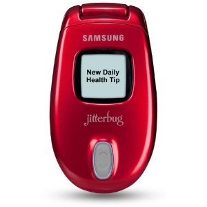 This red jitterbug is as close to pink as you can get for the best cell phones for senior citizens