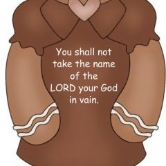 This little gingerbread clipart cookie with no mouth but with a heart helps us with teaching the ten commandments Bible memory verses for children and grandchildren