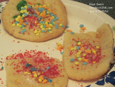 After decorating the sugar cookies - my grandkids loved adding confetti and cinnamon sprinkles on top of the cookie frosting and icing
