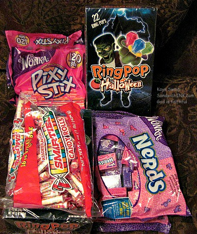 Christian Halloween treats of candy pass it ons and tracts are fun for the Sandwich Generation granny nanny and grandkids to give out
