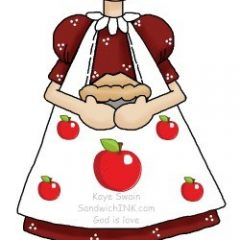 The Sandwich Generation granny nanny loves cute Grandma and granddaughter apple clip art