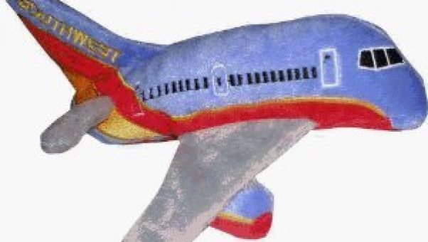 This Southwest plush airplane makes great travel gifts for grandparents to give to grandkids