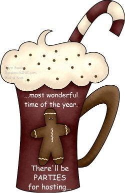 As my cute country Christmas gingerbread cup and clipart proclaim - its the season for fun parties - and for the Sandwich Generaton that can include a fun blog party or 5