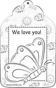 A lovely butterfly bookmark for the grandkids to color - for the special women in our Sandwich Generation lives from SandwichINK
