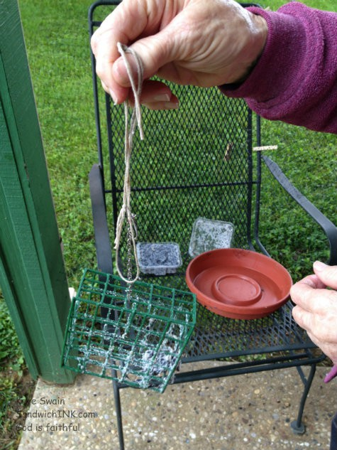 As this shot from my easy to use digital camera shows - my senior mom is preparing each bird feeder including replacing the suet that both the red Cardinal birds AND the squirrels love
