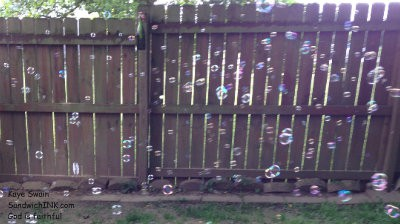 Bubble wands are fun and easy to use but as my digital camera shot shows my grandkids prefer the battery operated bubble shooter guns since they make more bubbles faster