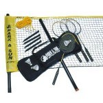These badminton rackets and birdies make up a much nicer set than the Sandwich Generation granny nanny used with her grandson - we may have to give it a try