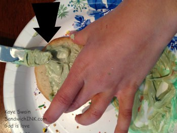 Check out the lovely olive green my granddaughter came up with by combining colored gel with white frosting - creative fun and sweet family memories for this Sandwich Generation granny nanny