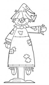 A fun scarecrow clipart and coloring page for all of us in the Sandwich Generation
