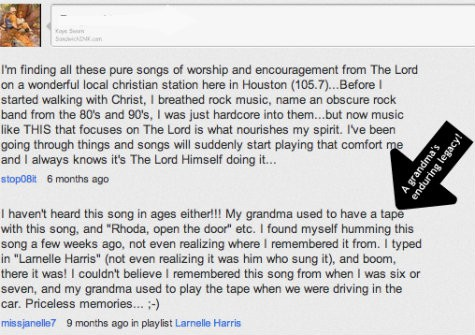 Love this sweet example of a grandmother who made leaving a sweet spiritual legacy a high priority and it has endured