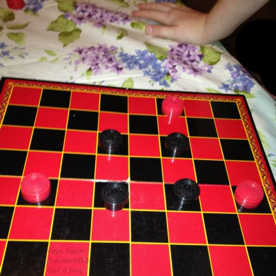 The Sandwich Generation granny nanny lost this and five other checkers games to her grandchildren in the last week