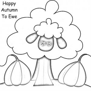 Happy Autumn to Ewe fall autumn coloring page
